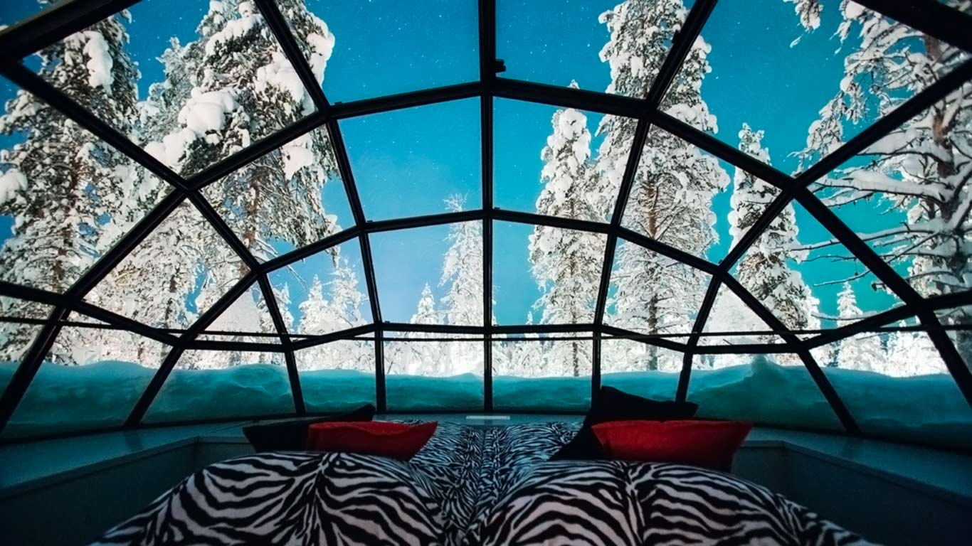 Daytime view from inside a glass igloo at Kakslauttanen Arctic Resort